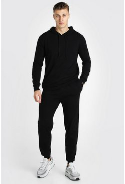 Black Knitted Hoodie And Jogger Tracksuit