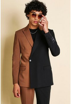 Brown MAN Skinny Spliced Double Breasted Suit Jacket