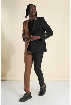 Brown Man Skinny Plain Spliced Suit Pants