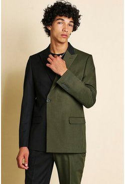 Khaki MAN Skinny Spliced Double Breasted Suit Jacket
