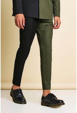 Khaki Man Skinny Plain Spliced Suit Pants