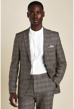 Brown Skinny Heritage Check Suit Jacket