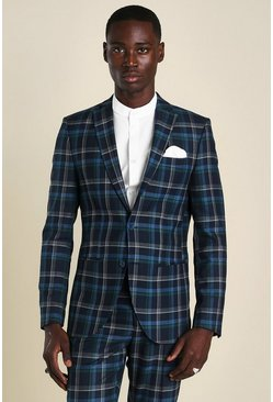 Blue Super Skinny Tartan Suit Jacket