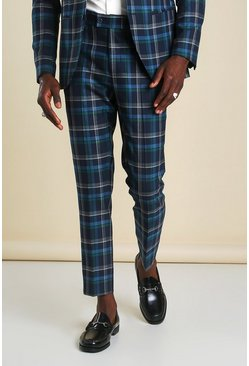 Blue Super Skinny Tartan Cropped Suit Trouser