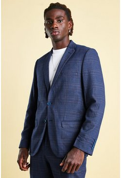Navy Slim Check Suit Jacket