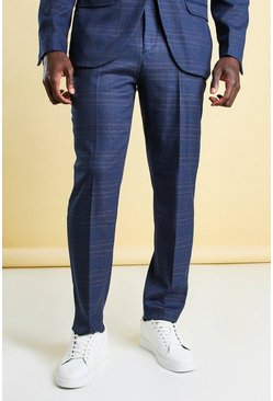 Navy Slim Check Suit Pants
