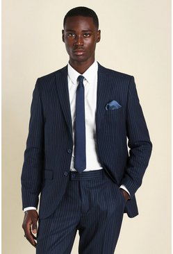 Navy Slim Pinstripe Suit Jacket
