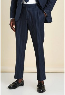 Navy Slim Pinstripe Suit Trouser