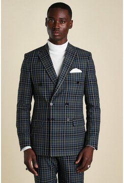 Black Skinny Check Double Breasted Suit Jacket