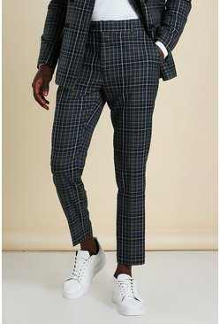 Black Skinny Check Cropped Suit Trouser