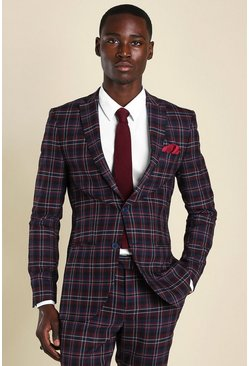 Wine Super Skinny Tartan Suit Jacket