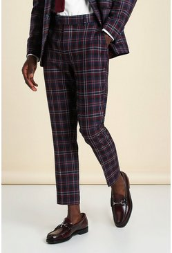 Wine Super Skinny Plaid Cropped Suit Pants