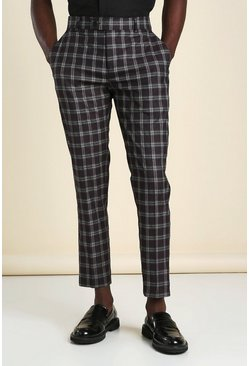 Wine Skinny Windowpane Check Smart Cropped Trouser