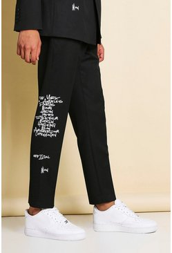 Black Slim Graffiti Print Suit Pants