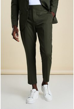 Khaki Skinny Plain Cropped Suit Pants
