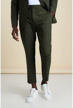 Khaki Skinny Plain Cropped Suit Trouser