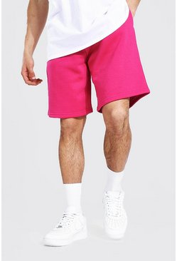 Pink Basic Mid Length Loose Jersey Shorts