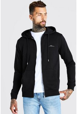 Black MAN Signature Embroidered Zip Through Hoodie