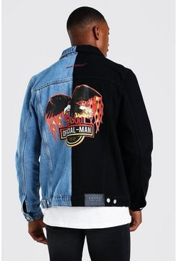 Black Denim Jacket with Back Print