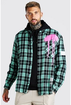 Green Long Sleeve Oversized Graffiti Print Check Shirt