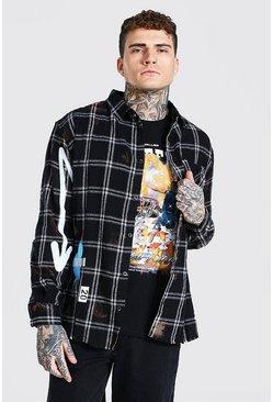 Black Long Sleeve Oversized Baller Graffiti Check Shirt