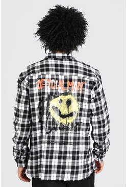 White Long Sleeve Oversized  Graffiti Print Check Shirt