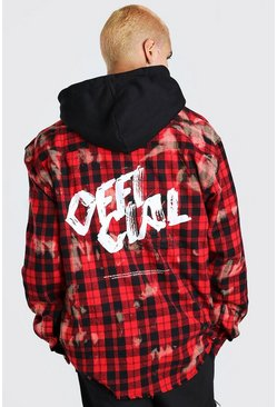Red Long Sleeve Oversized Bleached Printed Check Shirt