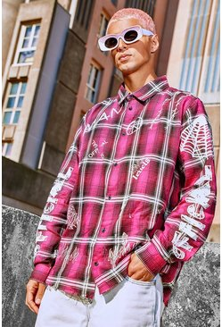 Surchemise coupe oversize à carreaux graffiti MAN Official, Rose