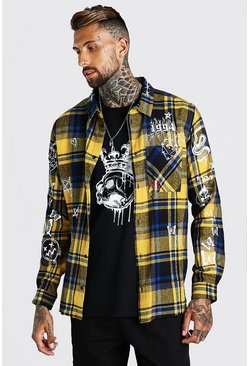 Yellow MAN Official Ovesized Graffiti Check Overshirt