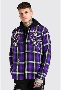 Surchemise coupe oversize à carreaux graffiti Man Official, Violet