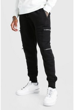Black Official MAN Cuffed Multi Pocket Cargo Jogger