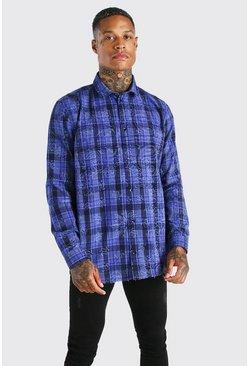 Purple Long sleeve bandana print check shirt
