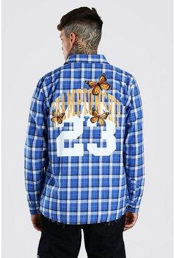 Blue Long sleeve oversized championship check shirt