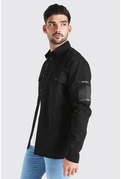 Black Man Utility Pocket Overshirt