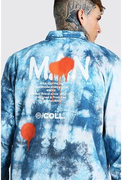 Blue Man back print tie dye overshirt