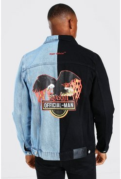 Black Spliced Denim Jacket with Back Print
