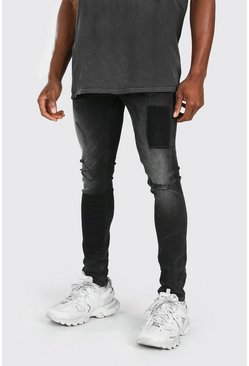 Black Super Skinny Ripped Patch Jeans With Knee Rips