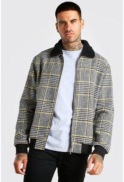 Black Check borg collar bomber jacket