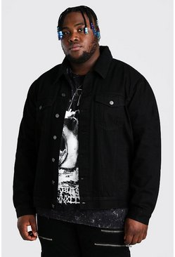 Black Plus Size Denim Jacket With Borg Collar