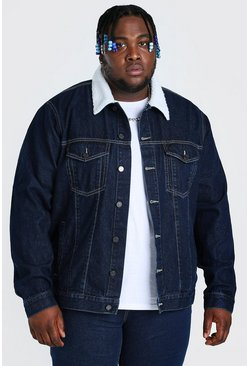 Dark blue Plus Size Denim Jacket With Borg Collar
