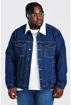 Mid blue Plus Size Denim Jacket With Borg Collar