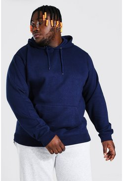 Navy Plus Size Basic Over The Head Hoodie