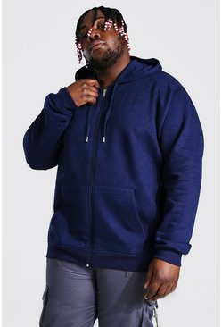 Navy Plus Size Basic Zip Through Hoodie