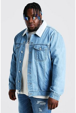 Light blue Plus Size Denim Jacket With Borg Collar