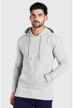 Grey marl Muscle Fit Over The Head Hoodie