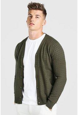Khaki Cable Knit Button Through Cardigan