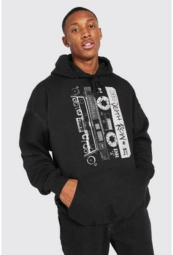 Black Death Row Cassette Print License Hoodie