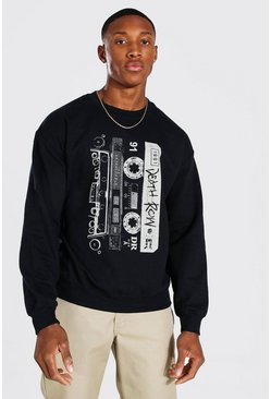 Black Death Row Cassette Print License Sweater
