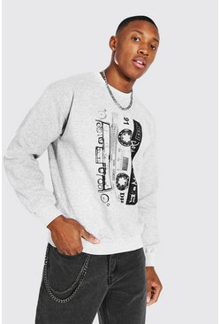 Grey marl Death Row Cassette Print License Sweater