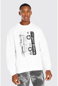 White Death Row Cassette Print License Sweater
